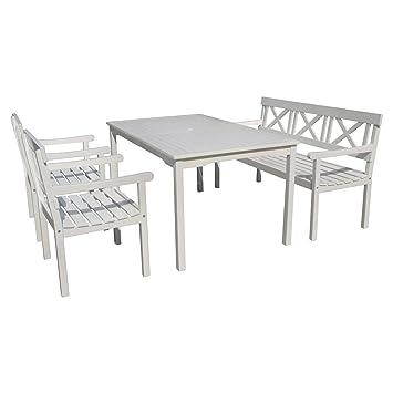 Tischgruppe Weiß Schwedenlook Stuhl Bank Tisch Sitzgruppe Gruppe Eukalyptus  Holz