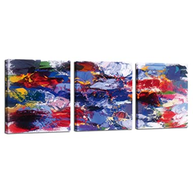 Abstract Wall Art for Bathroom Purple Colorful Landscape Painting Picture Print on Canvas Living Room Bedroom Home House Modern 3 Piece Framed Artwork Decoration