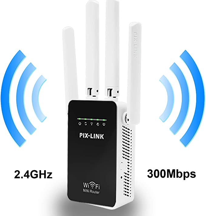 PIX-LINK Amplificador Señal de WiFi 300Mbps, Repetidor WiFi Extensor Enrutador Inalámbrico Punto Acceso con 4 Antenas Externas en Largo Alcance (WR09, Blanco): Amazon.es: Electrónica