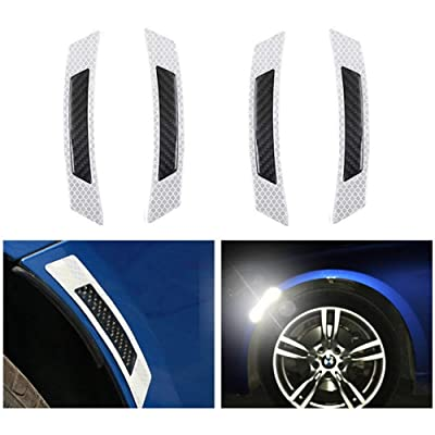 4 Trailer Reflector Car Reflective Self Adhesive Safety Warning Conspicuity Tape, Honeycomb Reflective Tape Stickers for Truck Auto Edge Wheel Eyebrow Protector Guards Accessories (White Black): Sports & Outdoors