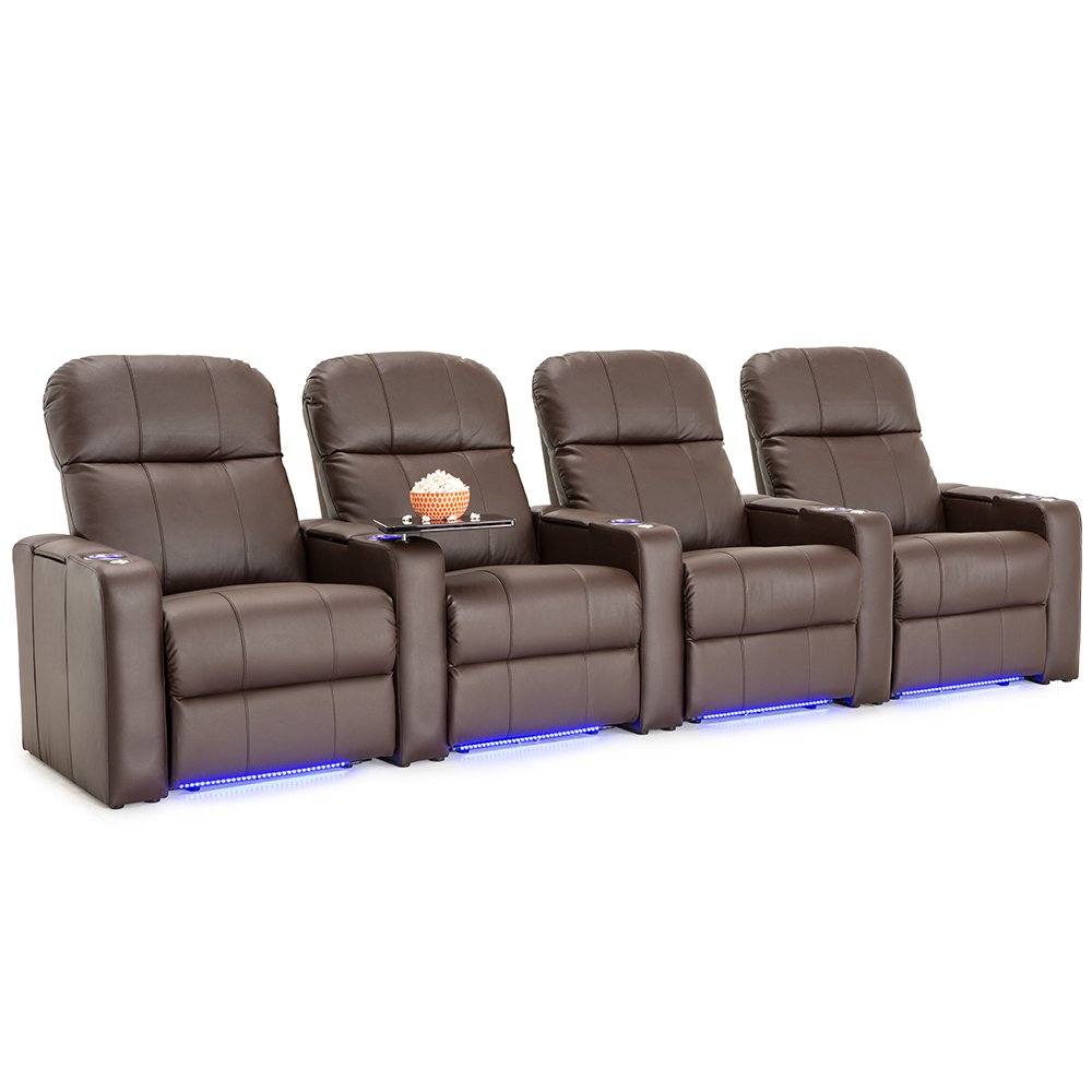 Seatcraft Venetian Brown Bonded Leather Home Theater Seating - Row of 4 Seats - Manual Recline by Seatcraft