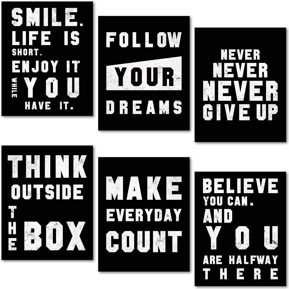 Inspirational Wall Art Poster, Motivational Quotes Wall Art Pictures, Positive Canvas Sayings for Office Living Room Wall Decor (Set of 6, 8X10 Inch, Unframed)