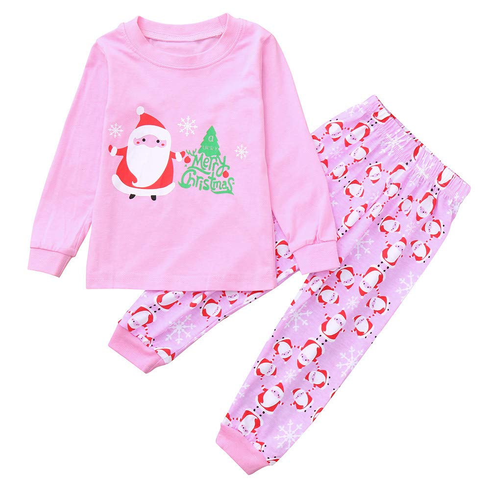Clothes Set Clearance, Girls Cartoon Santa Print Top+Pants Pajamas for 0-7 Years Old Kids Christmas Outfits JUH-852