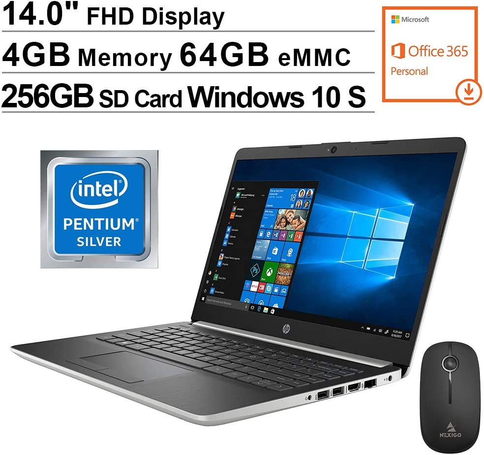 2020 Newest HP 14 Inch FHD 1080P Laptop, Intel Pentium N5000| 4GB RAM| 64GB eMMC| Bluetooth| HDMI| Windows 10 S (1 Year Office 365 Personal Included) + NexiGo Wireless Mouse + 256GB SD Card Bundle