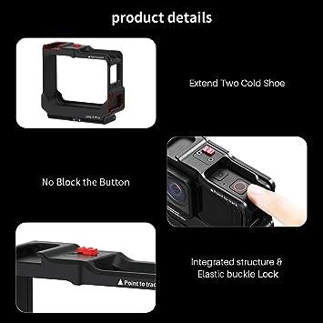 ULANZI Cámara Jaula ONE R Plus con 2 Cold Shoe para Micrófono/ Luz de Video,solo para Cámara de Acción INSTA 360 One R, Accesorios de Video