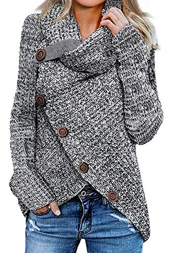 Asvivid Lightweight Turtle Cowl Neck Pullover Sweater for Womens Thick Big Button Asymmetric Wrap Knitted Sweaters Jumper S Grey from Asvivid