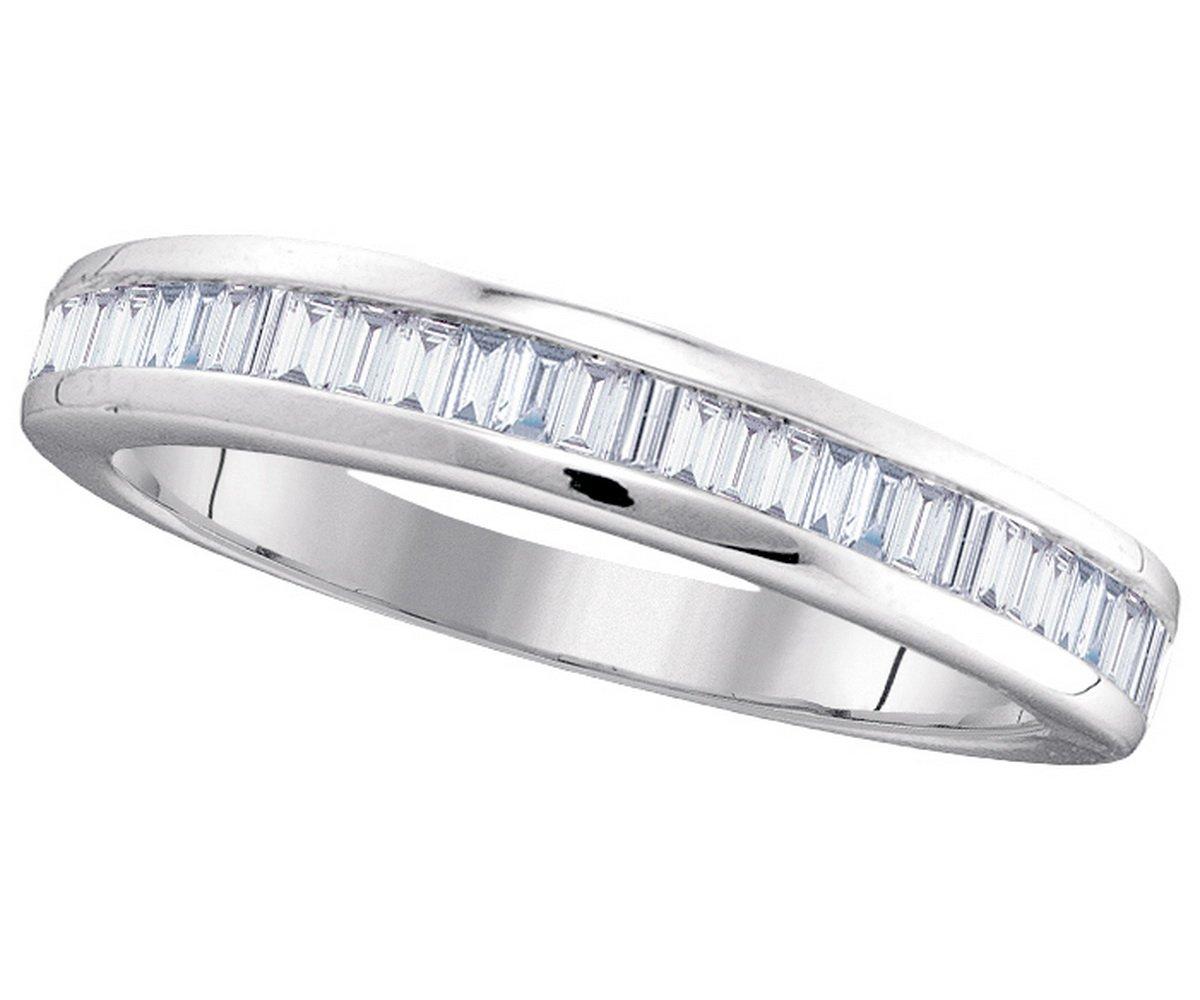 Size 7 - 14k White Gold Baguette Diamond Band Wedding Anniversary Ring (1/2 Cttw)