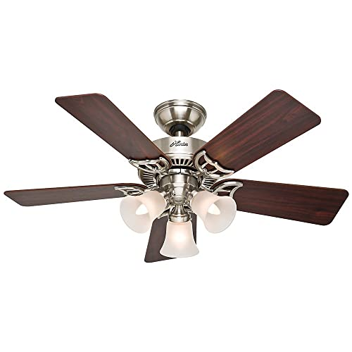 Hunter Indoor Ceiling Fan, with pull chain control – Southern Breeze 42 inch, Brushed Nickel, 51011