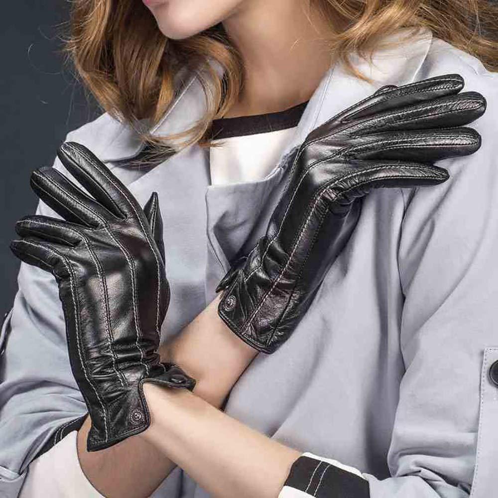 JJH&&&& Die Frau, Die Weiche Lederne Handschuhe Winter Plus Die Warmen Windundurchlässigen Handschuhe des Winters Antrieb, War Dünn