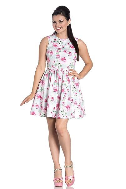 Vestido mini vuelo sin mangas print rosas Natalie mini dress 4792 Hell Bunny (XS)
