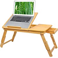 Bamboo Laptop Desk Tray,Breakfast Serving Bed Trays, Adjustable Foldable with Flip Top and Legs, Computer Stand with…