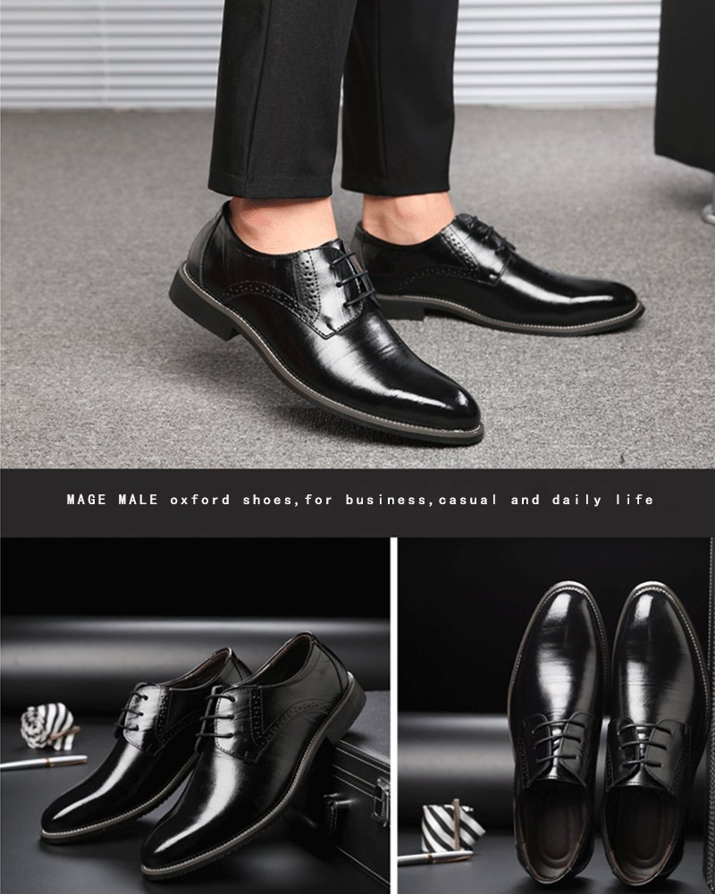 MAGE MALE Men's Dress Business Wingtip Oxford Classic Plain Toe Modern Leather Shoes