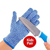 TruChef Kid Sized Cut Resistant Gloves for Meal Prep and Crafts Maximum EN388 Level 5 Protection From Kitchen and whittle Knives, Scissors, Vegetable Peelers, Mandolins, Blue, Small