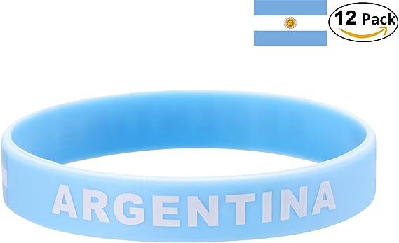YDT 2018 Copa Mundial de la FIFA Brazalete Deportivo Pulseras de la Bandera Nacional de Silicona para los Fanáticos del Fútbol Argentina Azul (12 Piezas): Amazon.es: Deportes y aire libre