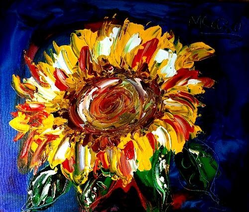 SUNFLOWERS Impasto Custom Painting - Modern Abstract