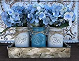 Pallet Kitchen Table Mason Canning JARS in Wood Antique White Tray Centerpiece with 3 Ball Pint Jar - Kitchen Table Decor - Distressed Rustic - Flowers (Optional) - SOFT GRAY, TURQUOISE Blue Painted Jars (Pictured)