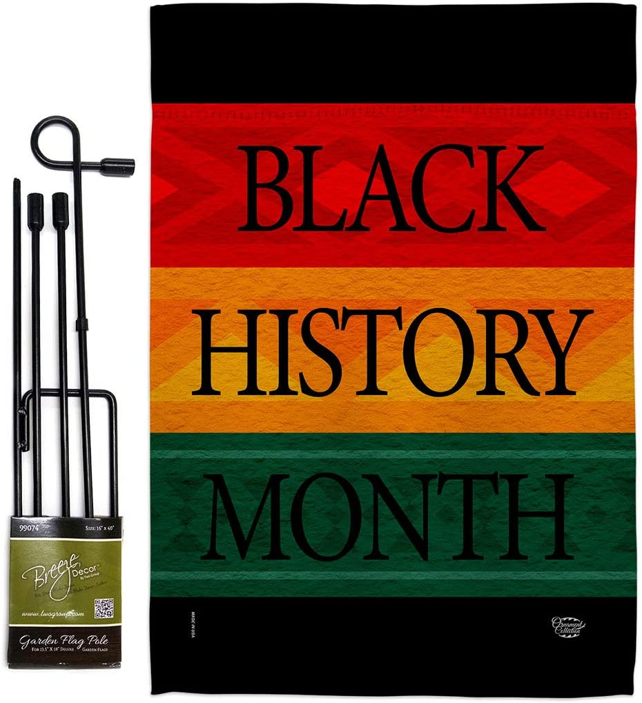 Ornament Collection Black History Month Afro Garden Flag Set with Stand Support Cause BLM Anti Racism Justice Revolution Movement Equality Social House Banner Small Yard Gift Double-Sided, Made In USA