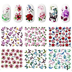 12PCS Butterfly & Flower Nail Stickers Mixed Style Water Decals Popular Nail Art Decorations