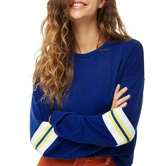Sudaderas Sin Capucha Tumblr Cortas Pullover Anchas Deportiva Azul Invierno para Mujer, PAOLIAN Camisetas Manga Largas Rebajas Estampado Rayas Señora otoño ...