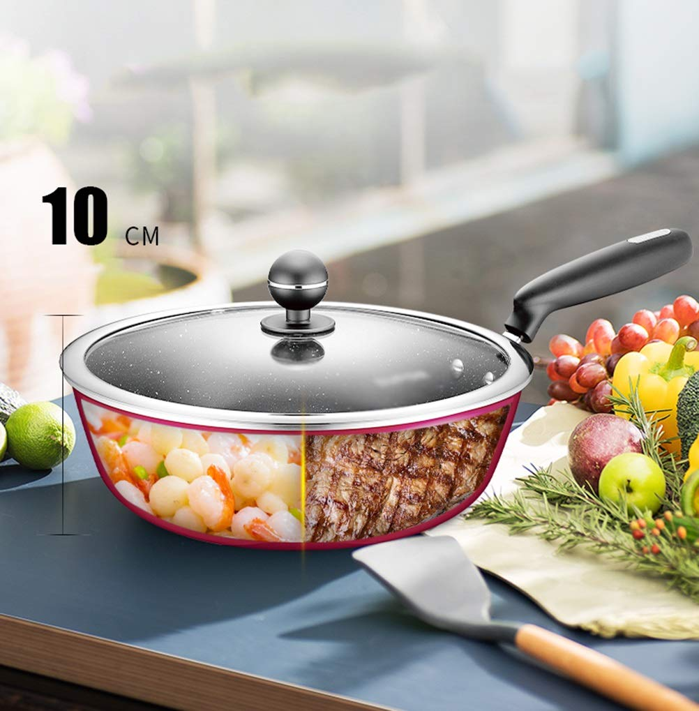 WYQSZ Wok - wok home fried double-use pot exquisite and durable multi-function wok -fry pan 2365 (color : B, Size : 2813cm) by WYQSZ (Image #2)
