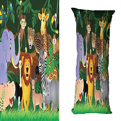 - DuckBaby Fashion Pillowcase Zoo Animals in The Jungle Funny Expressions Exotic Comic Cheer Natural Habitat Illustration Wrinkle Resistance W23.5 xL71 Multicolor