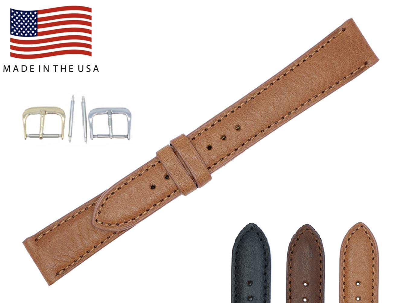 Montana Genuine Leather Watch Band Strap - American Factory Direct - 16mm 17mm 18mm 19mm 20mm 22mm - Both Gold & Silver Buckles Included - Made in USA by Real Leather Creations 16mm Tan PAD FBA46 by Real Leather Creations (Image #6)
