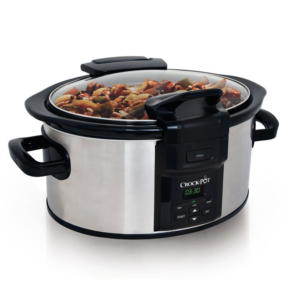 Crockpot SCCPVC600LH-S Lift & Serve Locking Hinged Lid Slow Cooker, 6 quart, Stainless Steel