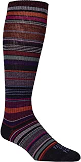 product image for Farm 2 Feet Ithaca Knee High - Ultralight Multi-Stripe comes with a Helicase sock ring; Size: W-S - Platinum/Berry