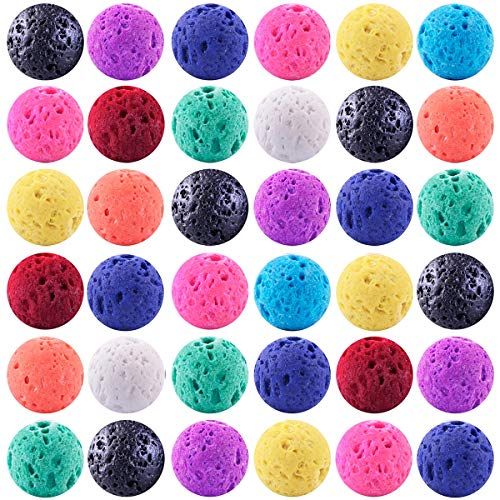 (Color Lava Stone Beads Mixed Box Kit 200pcs 8mm Round Loose Chakra Rock Beads Random Color for Essential Oil Yoga Diffuser Bracelet Necklace Jewelry Making (Color Lava Stone Beads Mix Kit))