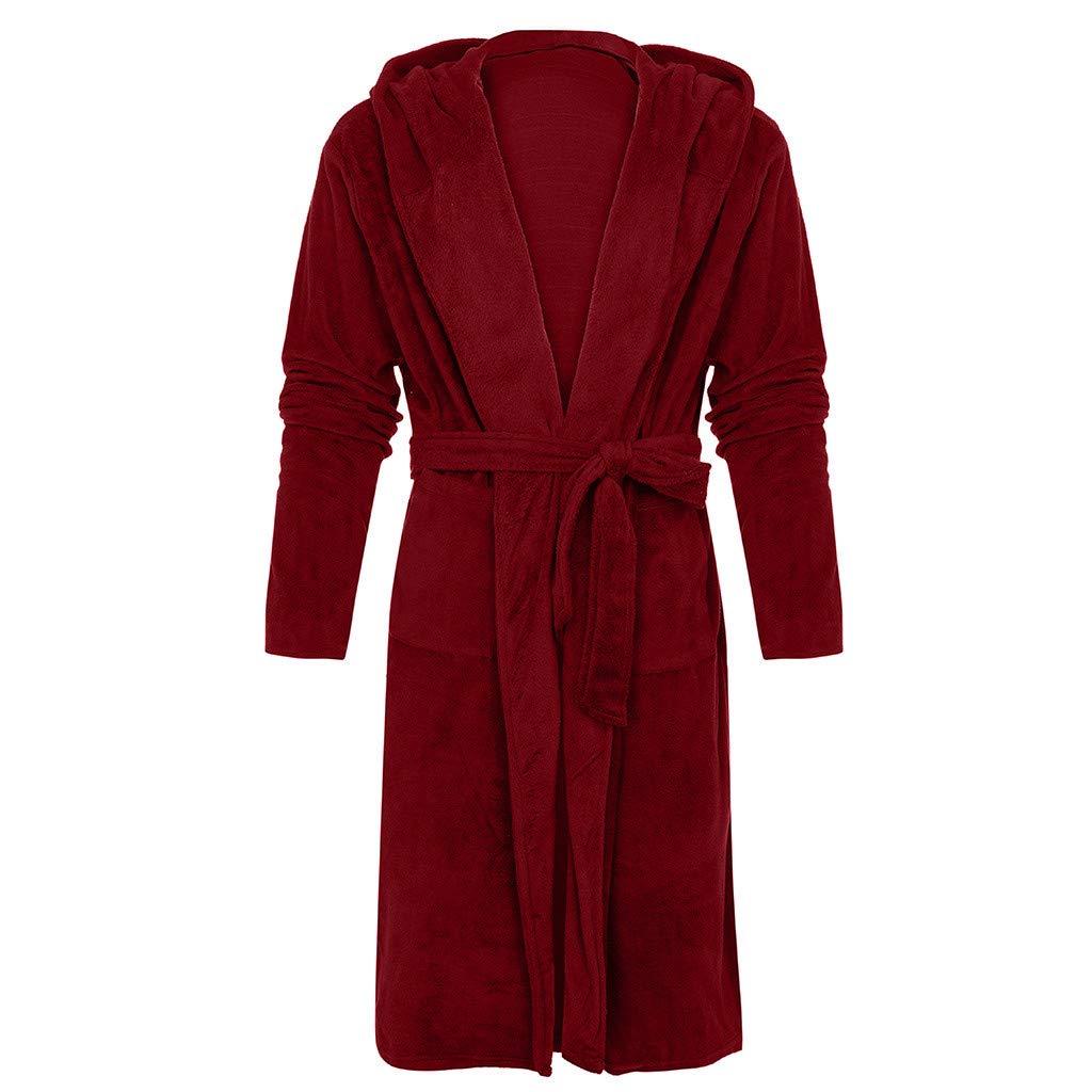 Robe de Chambre Kimono Tissage Col V Long Pyajama V/êtements de Nuit avec Capuche Hiver S-5XL OSYARD Peignoir de Bain Femme Coton