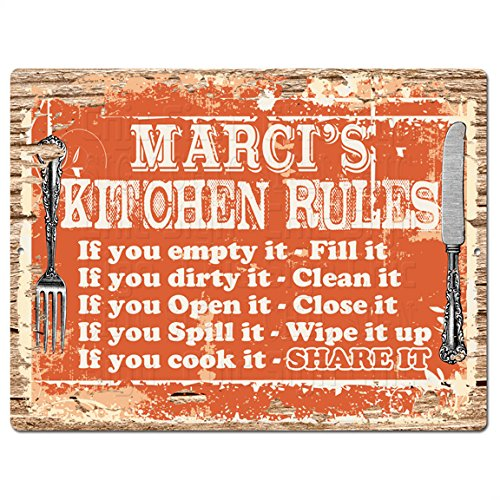 Welcome MARCI'S KITCHEN RULES Chic Tin Sign Vintage Style Retro Rustic 9