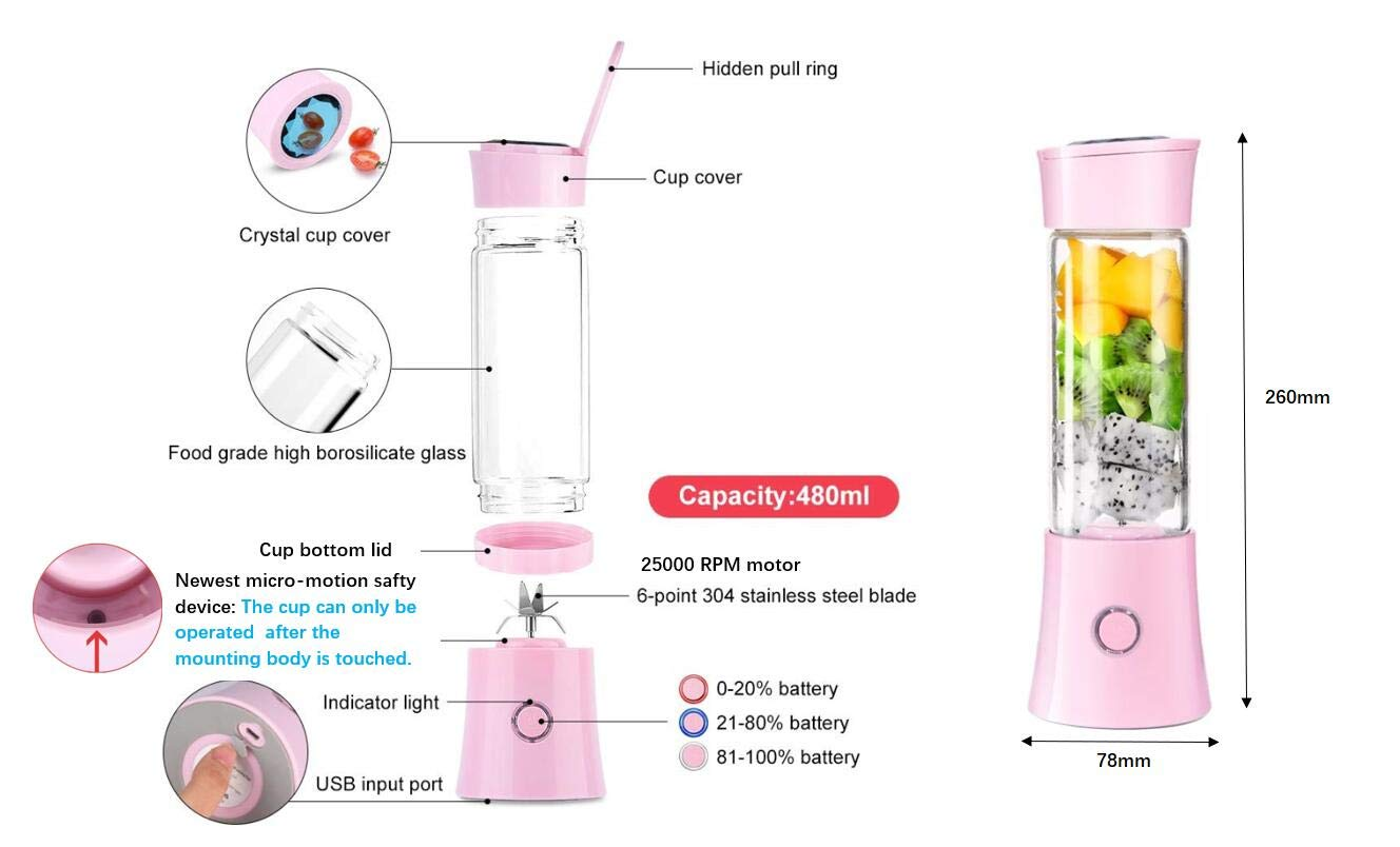 PINK Small Blender for Shakes and Smoothies Travel Blender Stronger and Faster with Ice Tray FDA BPA Free For Home Outdoor Travel Office USB Rechargeable Personal Smoothie Blender with 16oz Travel Cup and Lid Portable Blender