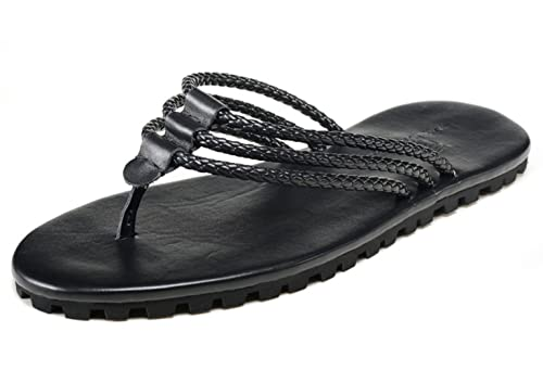 af8cb76a2b40b SK Studio Men s Designer Premium Leather Thong Slide Sandals Original  Dressy Comfort Slip On Flip Flops