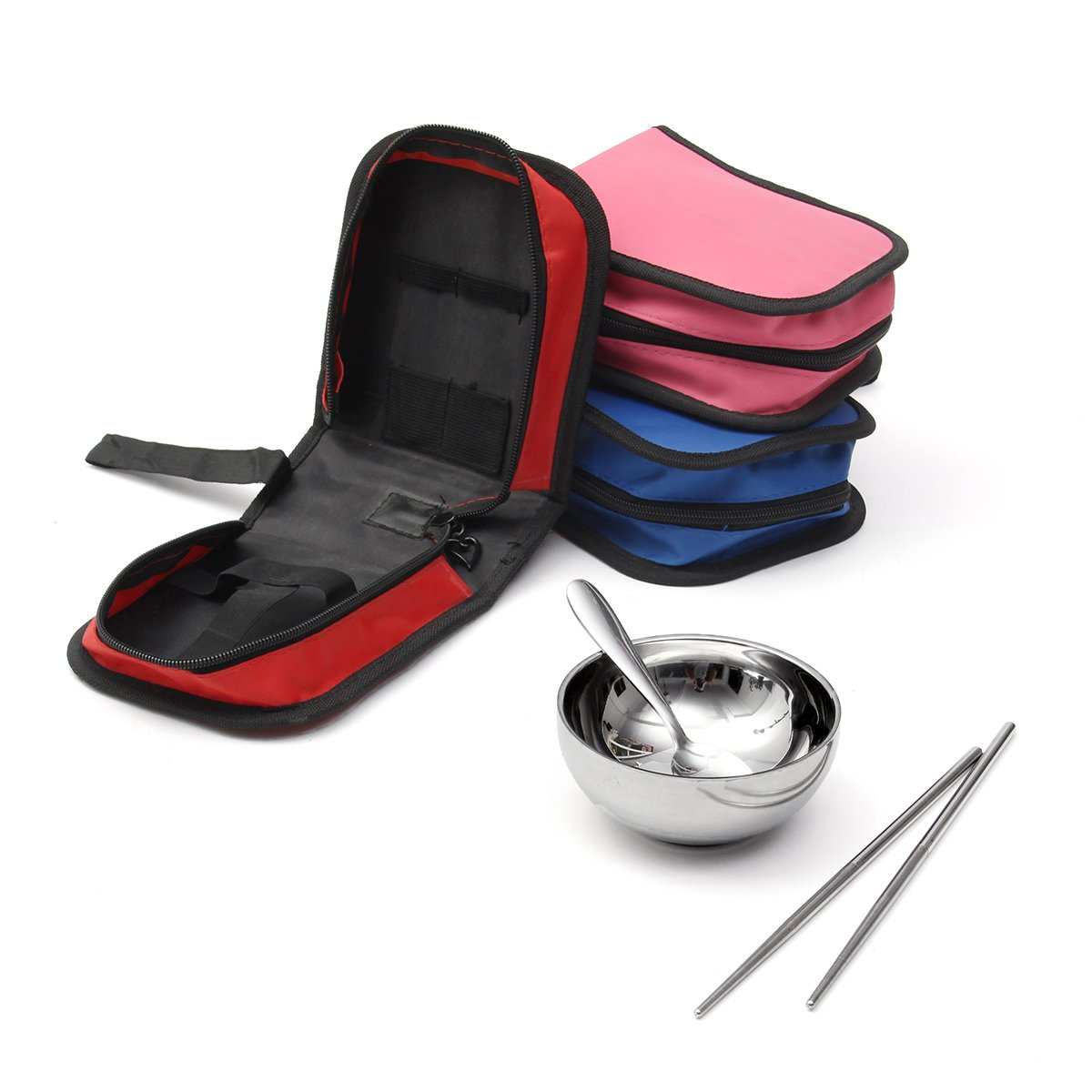 ShopSquare64 IPRee Outdoor 3 Pcs Sets Portable Stainless Steel Bowl Chopsticks Spoon Storage Bag Travel Picnic Cooking