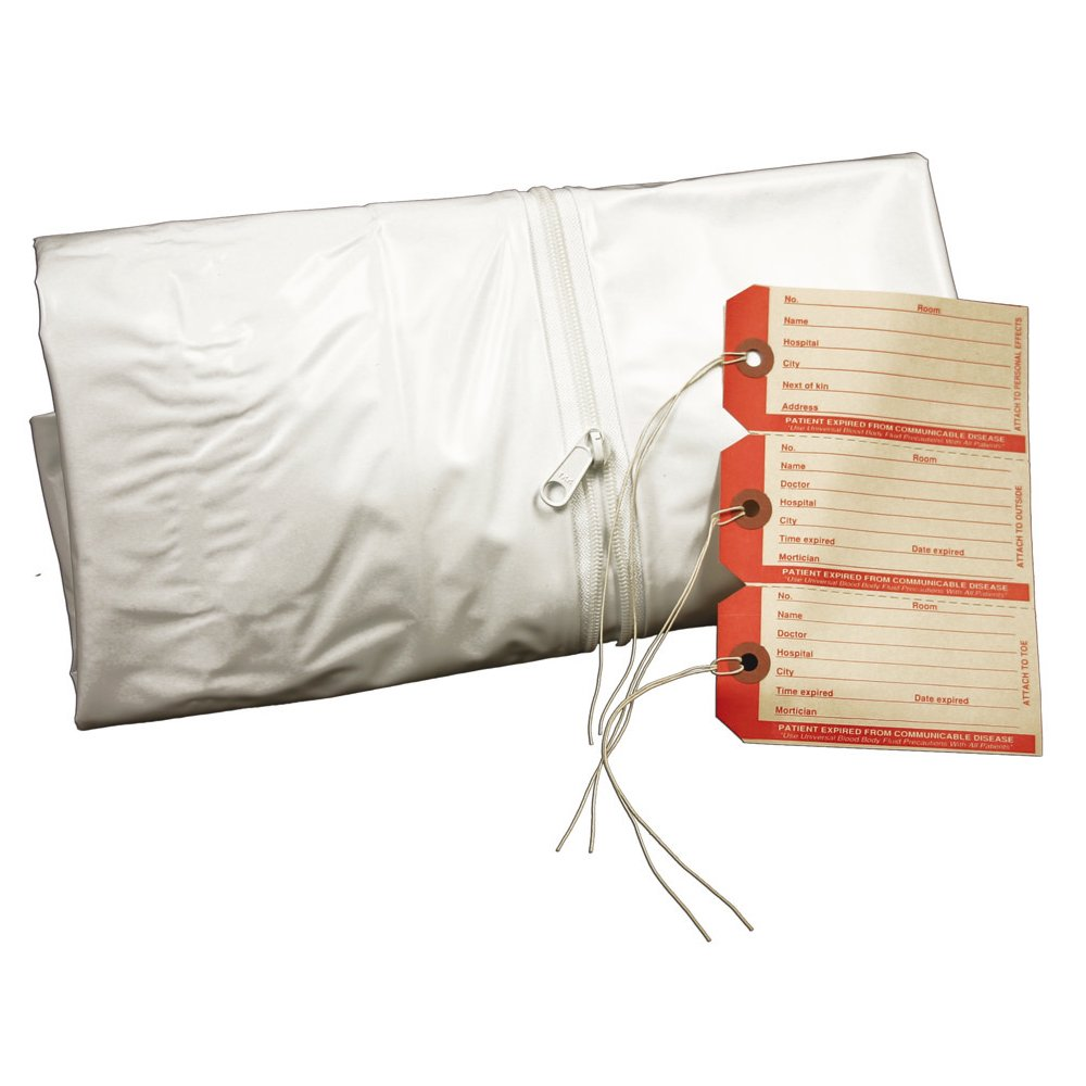 PDC Healthcare 55720-00-MBC Cadaver Bag, Pediatric, 3 I.D. Tags, Straight Zipper, Vinyl, 28'' x 46'', White (Pack of 10)