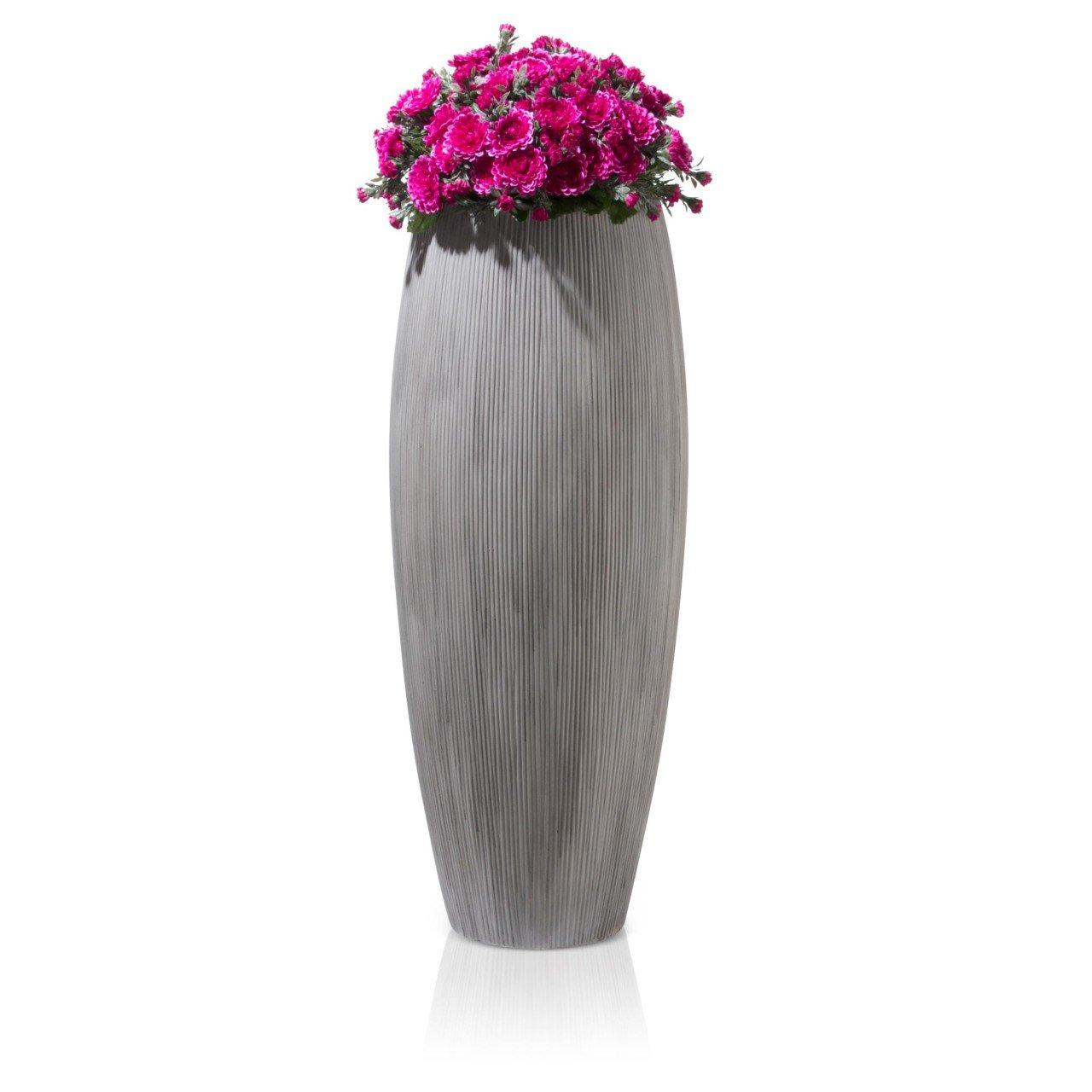 Blumenkübel Pflanzkübel CIGA 80 Fiberglas, 30x30x80 cm, grau ...