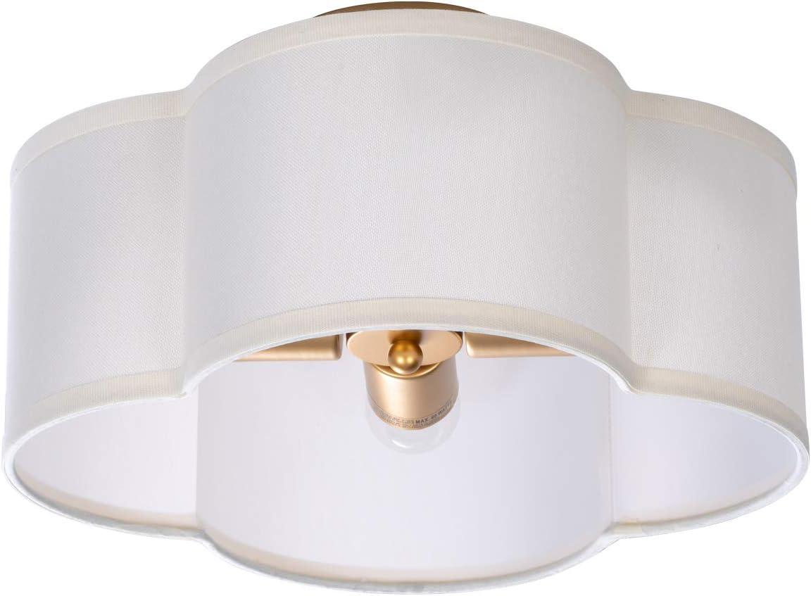 VILUXY Semi-Flush Mount Ceiling Light Fixture Off-White Fabric Drum Shade Antique Brass Brush Paint Finish for Bedroom, Dining Room, Corridor, Living Room 13.77