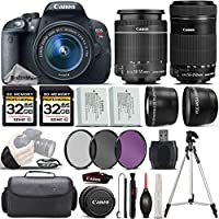 Canon EOS Rebel T5i DSLR Camera + Canon 18-55mm IS STM Lens + Canon 55-250mm IS STM Lens + 64GB Storage + 2.2x Telephoto Lens + 0.43X Wide Angle Lens + Backup Battery - International Version