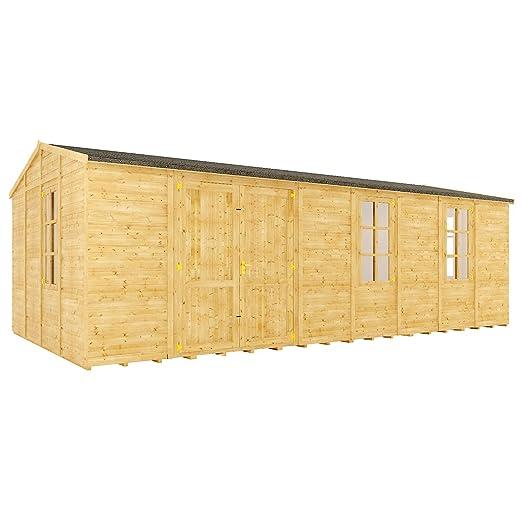 12 M Gran Maestro de ventana de madera caseta de jardín tradicional Apex Offset doble puerta: Amazon.es: Jardín