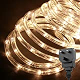 LE Outdoor LED Rope Lights Kit, 10m 240 LEDs Waterproof Strip Lights, 24V, Christmas Decorative Lighting for Garden Fence Patio Home, Warm White