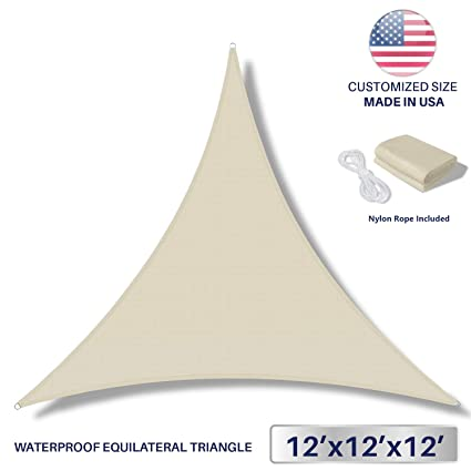 12 X 12 X 12, Beige: Windscreen4Less Terylene Ail Uv Blocker Triangle Patio 12 X 12 X 12 in Color Beige