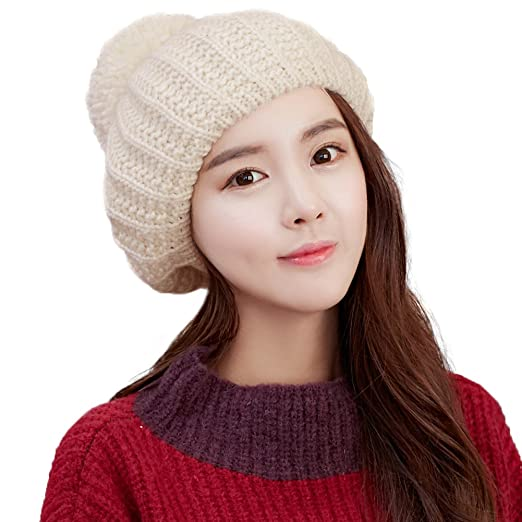 e7cacfe796829 Siggi Womens Wool Knit Beret Caps Cable Slouchy Pom Beret Hats Winter  Packable Beige
