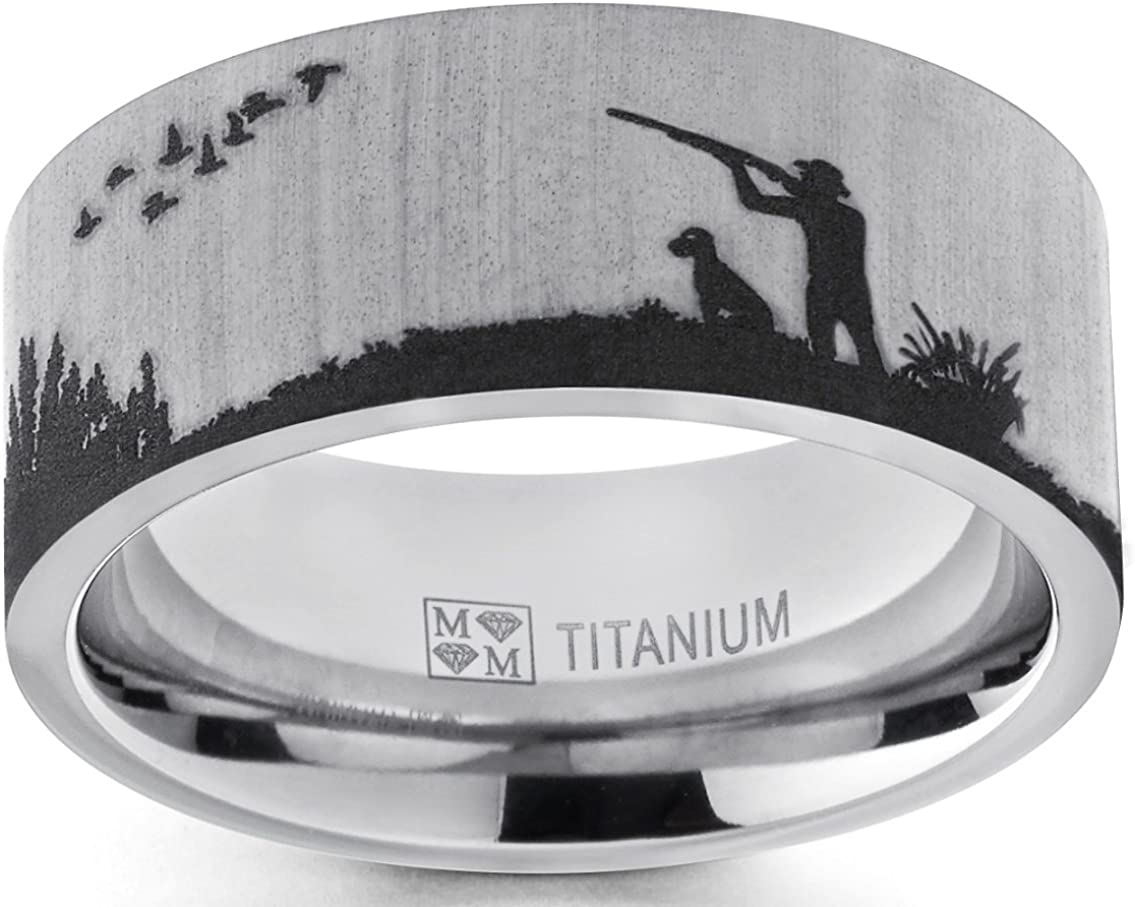 Metal Masters Co. Men's Titanium Ring Wedding Band with Laser Etched Bird Duck Hunting Outdoor Ring, Comfort Fit 9mm