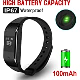 Fitness Tracker Heart Rate Monitor Waterproof Bluetooth FullTouch-screen USB Charging Smart Wristband For IOS and Android