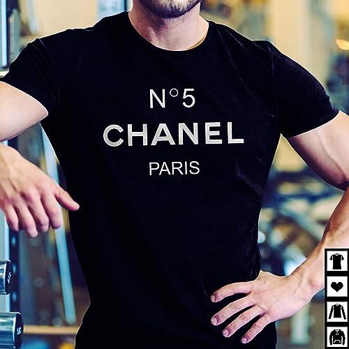 reputable site 15cd8 d075d Amazon.com: Chanel Logo Fashion White Black Unisex T-Shirt ...