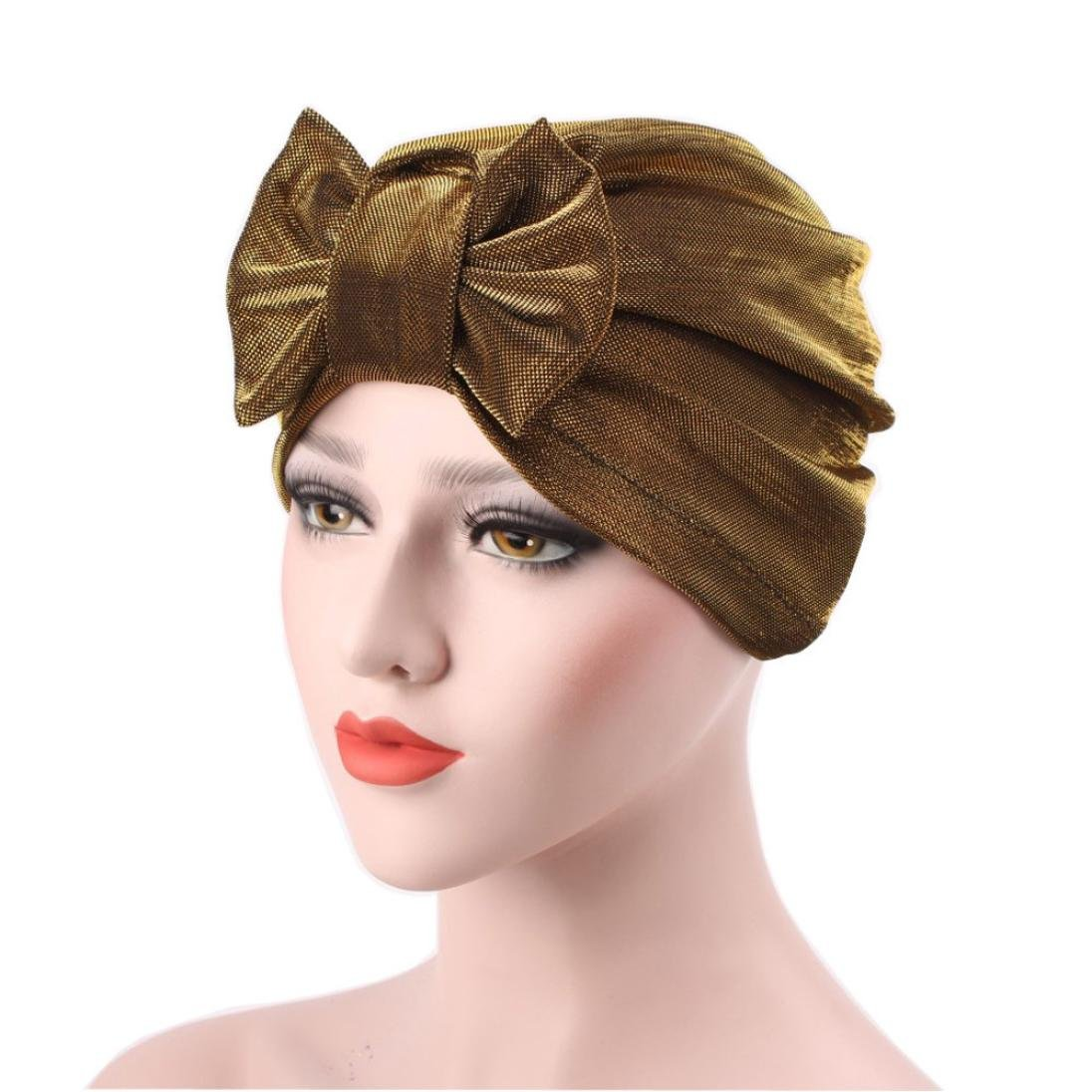 2cc7c219df8226 QingFan Women Solid Bow Pre Tied Cancer Chemo Hat Beanie Turban Stretch  Head Wrap Cap (Black) at Amazon Women's Clothing store: