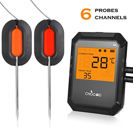 Wireless Digital BBQ Cooking Thermometer for Oven Grill Support iOS /& Android Smart Alarm Monitor /& Timer Bluetooth Meat Thermometer Kitchen Food 6 Probes Meat Thermometer for Grilling Smoker