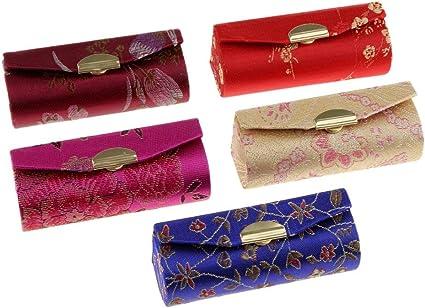 Luckyrainbow, 5 unidades de soporte para pintalabios con espejo, diseño tradicional chino de flores para maquillaje, joyas, bálsamo de labios, funda de transporte, color al azar: Amazon.es: Belleza