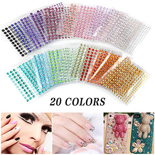 Self Adhesive Rhinestones, Face Gems Rhinestone Stickers, Assorted 3300 PCS Crystal, 20 Colors 4 Sizes Face Jewels Sticker Embellishments Sheet for Craft, Makeup, Body, Nails by UBEGOOD ()