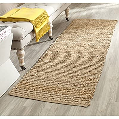"""Safavieh Cape Cod Collection CAP355A Hand Woven Flatweave Natural Jute Runner (2'3"""" x 22') - Natural Jute are used to make this everyday rug Each rug is hand made and hand woven to add style and durability This rug features a traditional woven pattern - runner-rugs, entryway-furniture-decor, entryway-laundry-room - 61VYA2Gm4AL. SS400  -"""